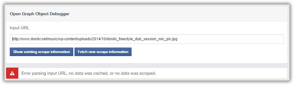 Facebook image url Debugger - First try