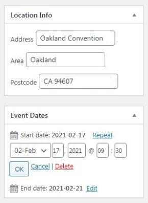 Enter event details